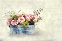beautiful bouquet of roses in wooden box. Stylization in watercolor drawing.