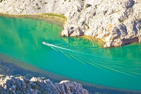 Zrmanja river karst canyon boat making waves view from above