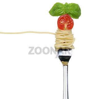 Spaghetti Nudeln Pasta essen auf einer Gabel Freisteller