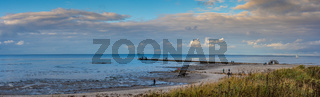 Beach hike in Laboe, Schleswig-Holstein, Germany, on a sunny autumn day