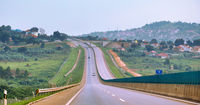 On the new Chinese-built Kampala–Entebbe Expressway in Uganda
