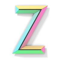 Neon color bright font Letter Z 3D