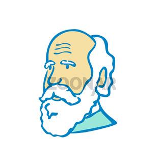 Nerdy Charles Darwin Doodle Mascot