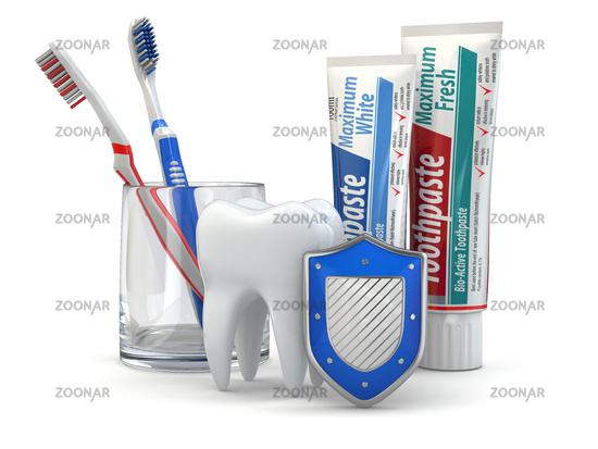 Dental protection, Tooth, shield, toothpaste and toothbrushes.