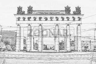 triumphal gates with columns