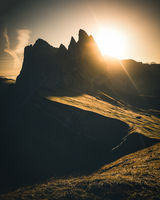 Seceda Mountain in Dolomites during Sunrise in Autumn