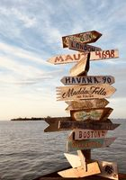 distance signs to other famous places at Mallory Square on Key West, Florida