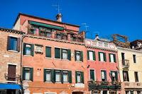 Venice, italy - mar 20, 2019 - weathered old houses on rio dei carmini