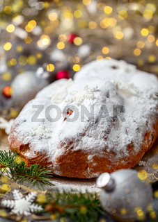 Christmas stollen and Christmas decorations.