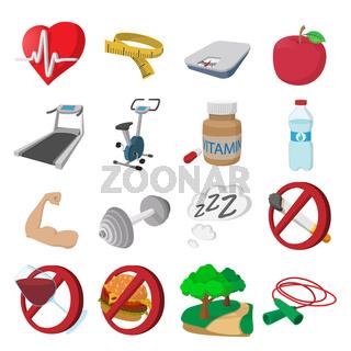 Healthy lifestyle cartoon icons