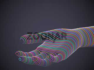 Palm woven from multicolored glowing digital threads.