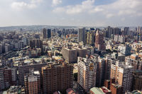 cityscape of Taichung city with skyscrapers and blue sky