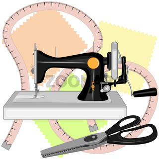 A black old sewing machine, a tailor s centimeter, and tailors large scissors for sewing with zigzag blades and black handles lie on three multi-colored shreds