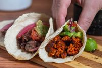 Mexican barbecue tacos of carne asada and chorizo