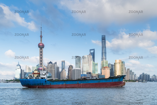 shanghai skyline and ship