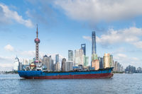 shanghai skyline and ship