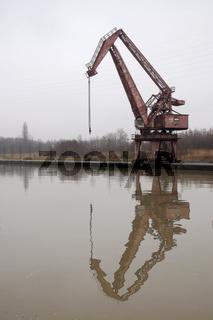 Alter Hafenkran im Preussenhafen in Lünen