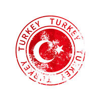 Turkey sign, vintage grunge imprint with flag on white