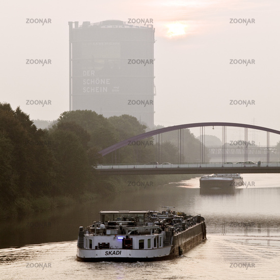 Rhine Herne Canal with Gasometer, Oberhausen, GER