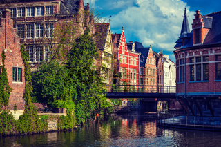 Travel Belgium medieval european city town background with canal. Ghent
