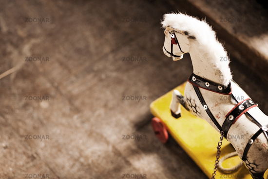 Vintage wooden childs rocking horse
