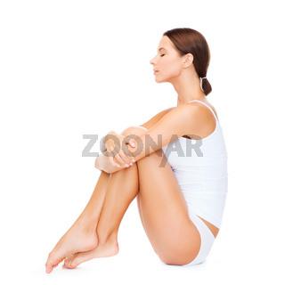 beautiful woman in white cotton underwear