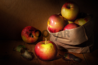 apples in a cloth bag