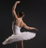 Beautiful ballerina dancing gracefully rearview
