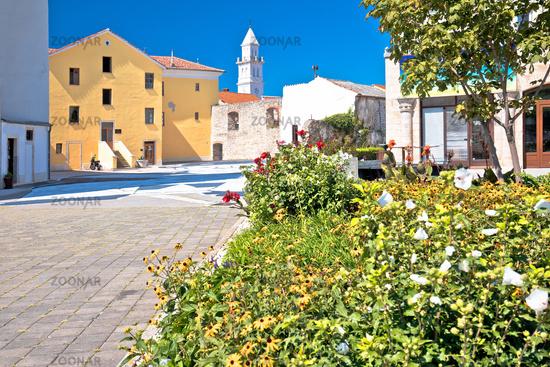 Town of Novi Vinodolski church and old stone square view