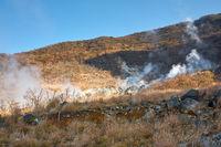 The sulfurous fumes on the slope of Owakudani  Valley.  Hakone area. Honshu. Japan