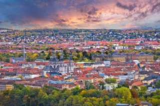 Wurzburg. Old town of Wurzburg historic city center aerial view