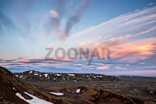 On the left side of Lakagigar at sunset, Iceland