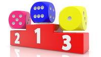 Three colorful dices on Winner podium