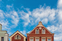 Gables of historic buildings in the old town of Verden, Lower Saxony, Germany