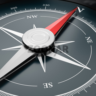 Metallic Compass with Red Magnetic Needle Pointing Toward the North Close-up 3D Illustration