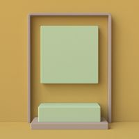 Green and brown abstract background made of squares with pedestal 3D