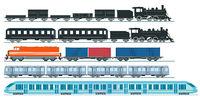 Express train freight train steam locomotive, railroad car. Freight, set