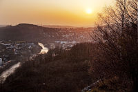 River Lenne at sunset, Iserlohn, North Rhine-Westphalia, Germany, Europe