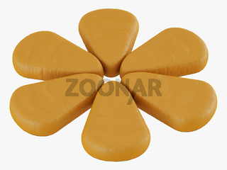 Yellow pouf flower with rounded ends 3d rendering