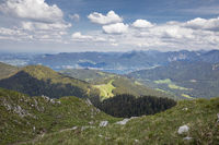 Viev from the Fockenstein peak to lake Tegernsee in Bavaria, Germany