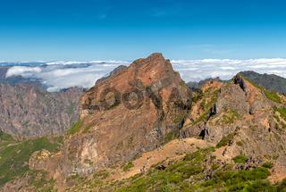 Wanderer auf dem Pico do Arieiro, Madeira