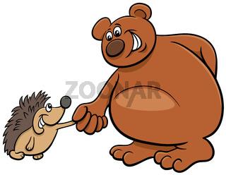 bear and hedgehog cartoon animal characters