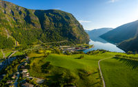 Aurlandsfjord Town Of Flam at dawn.