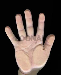 Rechte Handfläche auf einer Glasplatte