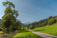 Landscape in Toggenburg with view of the Speer mountain, Canton St. Gallen, Switzerland