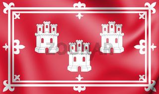 3D Flag of Aberdeen, Scotland. 3D Illustration.
