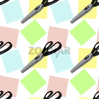 Seamless pattern. Large tailor's scissors for sewing with zigzag blades and black handles lie on three colorful shreds.