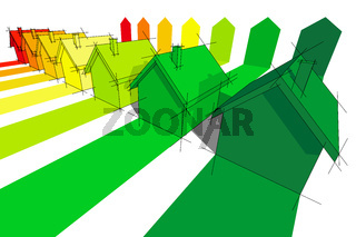 seven houses in energy rating diagram