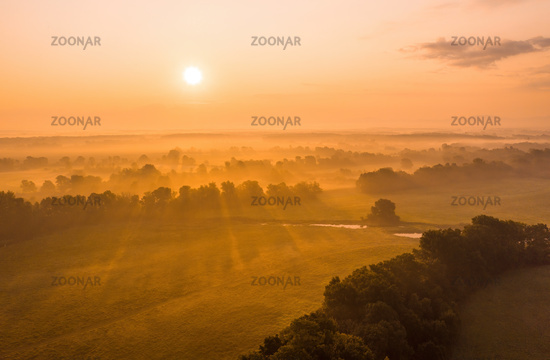 Sun rising above riparian forest in summer from drone