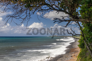 Pebble, gravel beach at Sainte Suzanne on Reunion island, France,